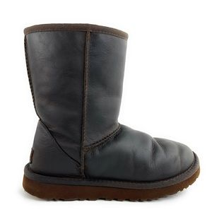 UGG Waterproof Brown Leather Short Boots